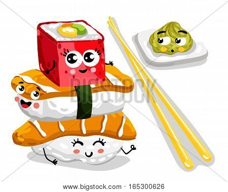 Cute sushi set cartoon character isolated on white background vector illustration. Funny japanese sushi roll, sashimi and wasabi emoticon face icon. Happy smile cartoon face food, comical sushi emoji