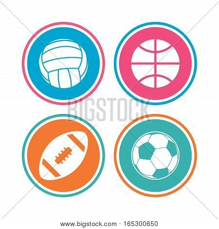 Sport balls icons. Volleyball, Basketball, Soccer and American football signs. Team sport games. Colored circle buttons. Vector