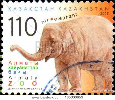 KAZAKHSTAN - CIRCA 2007: Postal stamp printed in Kazakhstan shows elephant.