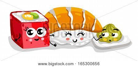 Cute sushi set cartoon character isolated on white background vector illustration. Funny japanese sushi roll, sashimi and wasabi emoticon face icon. Happy smile cartoon face food, comical sushi emoji