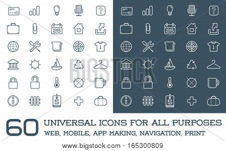 60 Universal Icons Set For All Purposes Web, Mobile, App Making, Navigation, Print