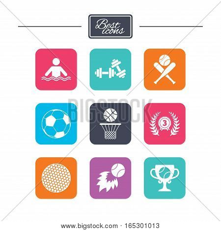 Sport games, fitness icons. Football, basketball and baseball signs. Swimming, fireball and winner cup symbols. Colorful flat square buttons with icons. Vector