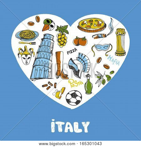 Love Italy. White heart filled with vintage doodles related with italian culture isolated on blue background vector illustration. Memories about European journey. Sketched icons with national symbols