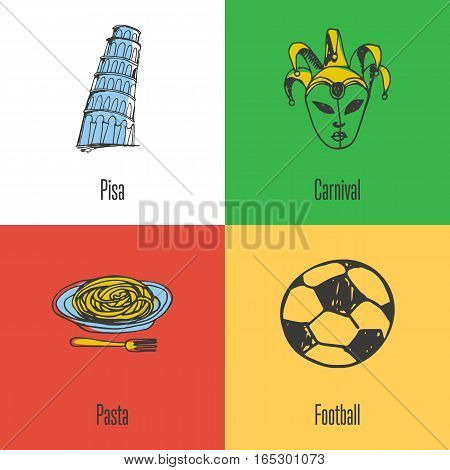 Italian national, cultural, political, culinary, sports symbols. Venetian carnival mask, Pisa Tower, football, pasta in plate with fork icons with caption vector illustrations on colored backgrounds
