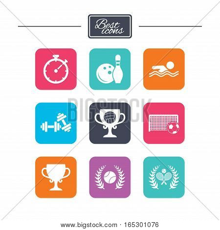 Sport games, fitness icons. Football, tennis and volleyball signs. Swimming, timer and bowling symbols. Colorful flat square buttons with icons. Vector