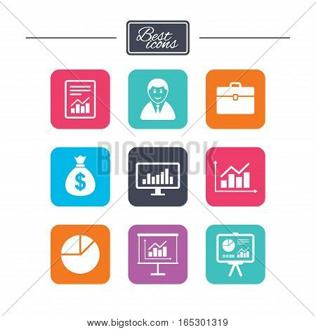 Statistics, accounting icons. Charts, presentation and pie chart signs. Analysis, report and business case symbols. Colorful flat square buttons with icons. Vector