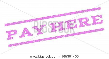 Pay Here watermark stamp. Text caption between parallel lines with grunge design style. Rubber seal stamp with unclean texture. Vector violet color ink imprint on a white background.