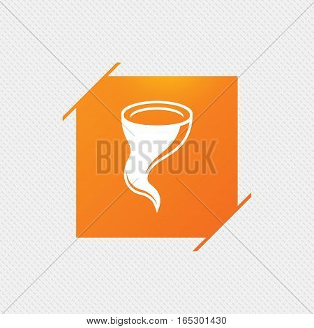 Storm sign icon. Gale hurricane symbol. Destruction and disaster from wind. Insurance symbol. Orange square label on pattern. Vector