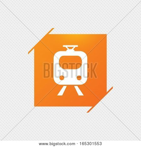 Subway sign icon. Train, underground symbol. Orange square label on pattern. Vector