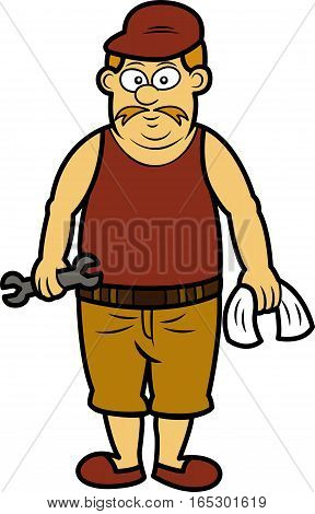 Old Mechanic Standing with Wrench and Towel Cartoon Illustration