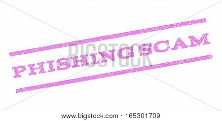 Phishing Scam watermark stamp. Text tag between parallel lines with grunge design style. Rubber seal stamp with scratched texture. Vector violet color ink imprint on a white background.