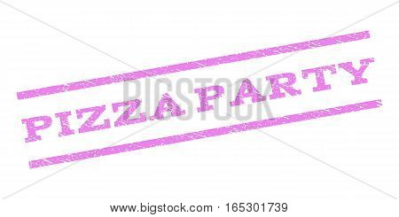Pizza Party watermark stamp. Text tag between parallel lines with grunge design style. Rubber seal stamp with dirty texture. Vector violet color ink imprint on a white background.