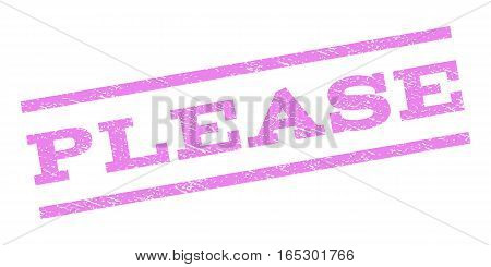 Please watermark stamp. Text tag between parallel lines with grunge design style. Rubber seal stamp with dirty texture. Vector violet color ink imprint on a white background.