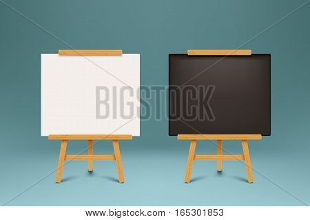 illustration of wooden black and white color paper flip chart on dark background