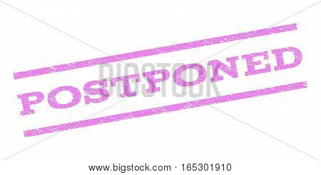 Postponed watermark stamp. Text caption between parallel lines with grunge design style. Rubber seal stamp with dust texture. Vector violet color ink imprint on a white background.