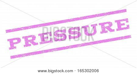Pressure watermark stamp. Text tag between parallel lines with grunge design style. Rubber seal stamp with scratched texture. Vector violet color ink imprint on a white background.