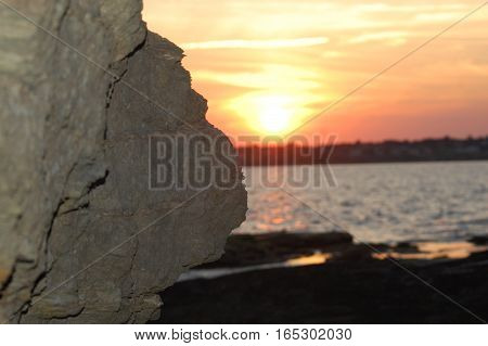 Sunset by the Rocks at Beavertail in Jamestown, RI