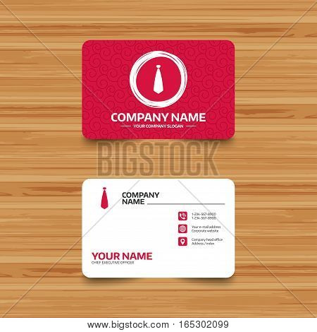 Business card template with texture. Tie sign icon. Business clothes symbol. Phone, web and location icons. Visiting card  Vector