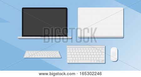 A set of gadgets. Computers phones and tablets. Flat vector illustration EPS 10
