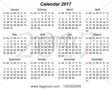 Horizontal calendar for year 2107. Sunday first. vector graphics