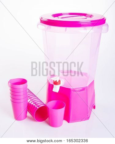 Water Dispenser Or Beverage Dispenser On The Background.