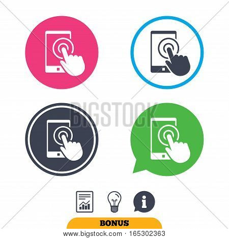 Touch screen smartphone sign icon. Hand pointer symbol. Report document, information sign and light bulb icons. Vector