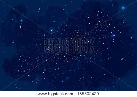 Vector Cosmology Illustration with Universe, Galaxy, Planets and Stars. Can be used for Invitation or Booklet. Futuristic view with Depth and Space Background