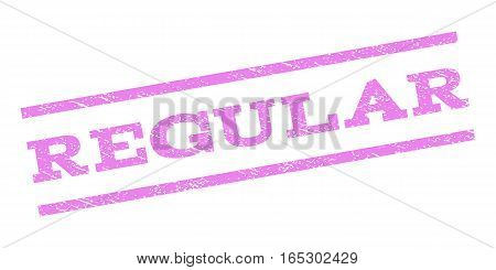 Regular watermark stamp. Text caption between parallel lines with grunge design style. Rubber seal stamp with unclean texture. Vector violet color ink imprint on a white background.