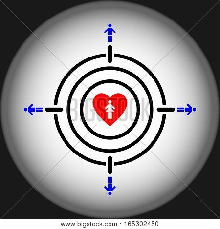 man aiming girl heart target concept,vector Illustration EPS10