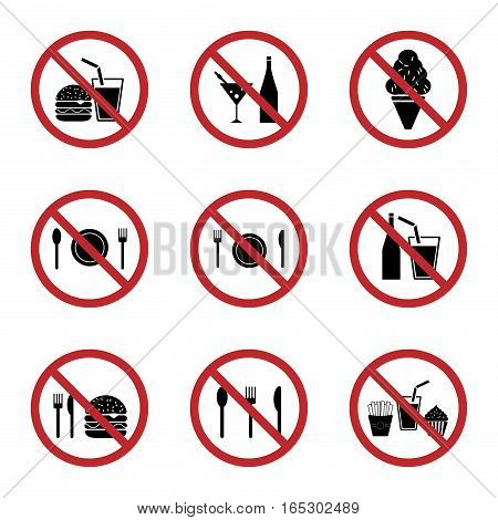 food and drink prohibition sign icons set,vector Illustration EPS10