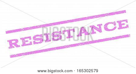 Resistance watermark stamp. Text caption between parallel lines with grunge design style. Rubber seal stamp with unclean texture. Vector violet color ink imprint on a white background.