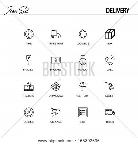 Delivery flat icon set set. Collection of high quality outline symbols of logistic for web design, mobile app. Vector thin line icons or logo of course, keep dry, list, truck, airplane, time, dolly.