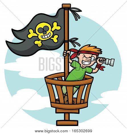 Pirate Kid in the Crows Nest Looking Through Binoculars Cartoon Illustration
