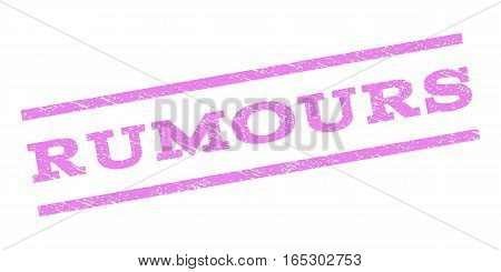 Rumours watermark stamp. Text caption between parallel lines with grunge design style. Rubber seal stamp with dust texture. Vector violet color ink imprint on a white background.