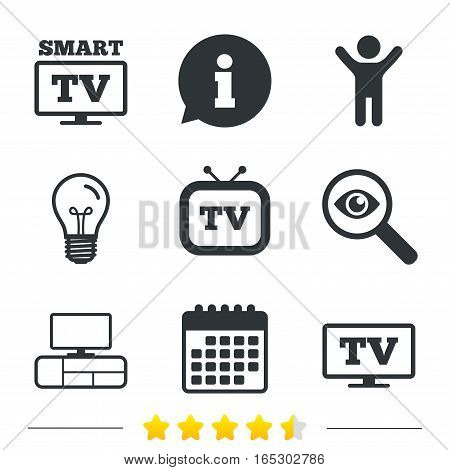 Smart TV mode icon. Widescreen symbol. Retro television and TV table signs. Information, light bulb and calendar icons. Investigate magnifier. Vector