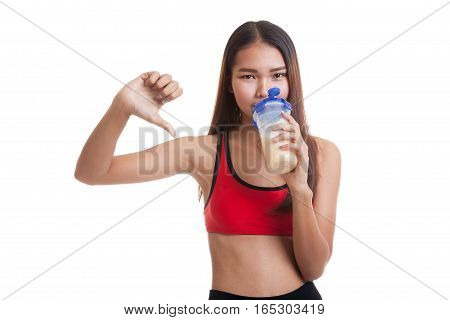 Beautiful Asian Healthy Girl Thumbs Down Hate Whey Protein.