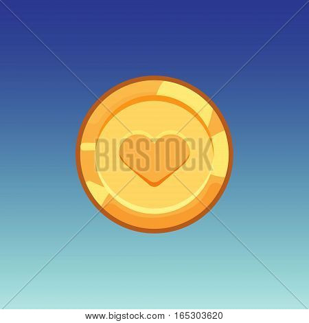 Flat cartoon coinsfor web, game or app interface. Golden monet with heart. Modern color vector game art illustration on blue background.