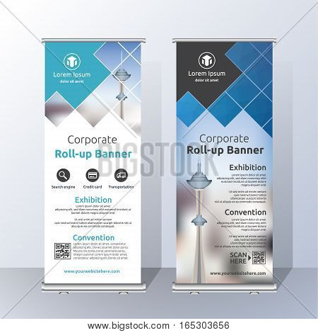 Vertical Roll Up Banner Template Design for Announce and Advertising. Abstract Blue and White Layout Template. Vector illustration
