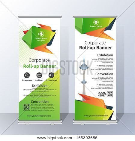 Vertical Roll Up Banner Template Design for Announce and Advertising. Abstract Green and Orange Layout Template. Vector illustration