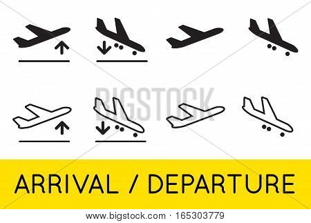 Aircraft or Airplane Icons Set Collection Vector Silhouette Arrivals Departure