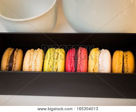 Colorful macaroons in different flavor stock photo