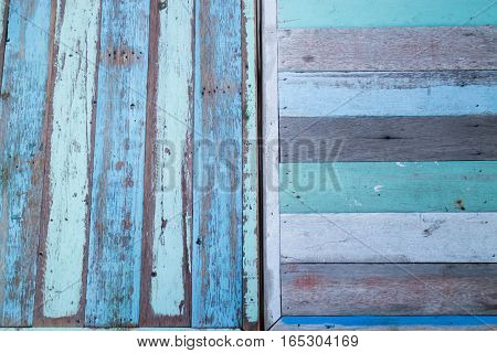 Blue wooden background of table top stock photo