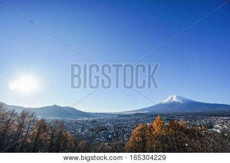 Mt. Fuji view in the morning with bright sunlight in autumn