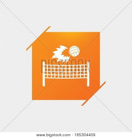 Volleyball net with fireball sign icon. Beach sport symbol. Orange square label on pattern. Vector