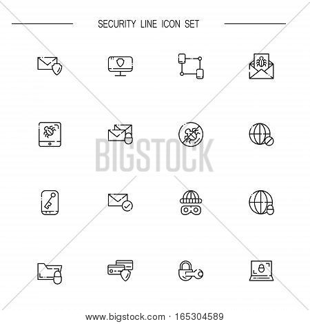 Internet secuirity flat icon set set. Collection of high quality outline symbols of Internet secuirity for web design, mobile app. Vector thin line icons or logo ofmail, cipher, network, threat, internet.