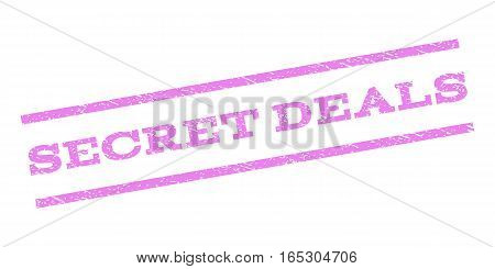Secret Deals watermark stamp. Text tag between parallel lines with grunge design style. Rubber seal stamp with scratched texture. Vector violet color ink imprint on a white background.