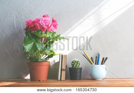 cactus flower pink flower with notebook on office wood table modern interior background concept.