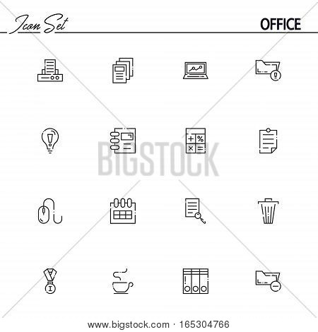 Office flat icon set set. Collection of high quality outline symbols of office for web design, mobile app. Vector thin line icons or logo of printer, documents, idea, folder, laptop, mouse