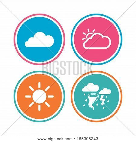 Weather icons. Cloud and sun signs. Storm or thunderstorm with lightning symbol. Gale hurricane. Colored circle buttons. Vector