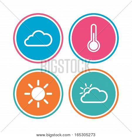 Weather icons. Cloud and sun signs. Thermometer temperature symbol. Colored circle buttons. Vector